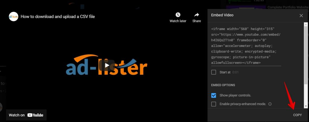 copy embed video ad-lister