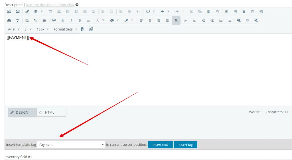 Inserting tag into description box