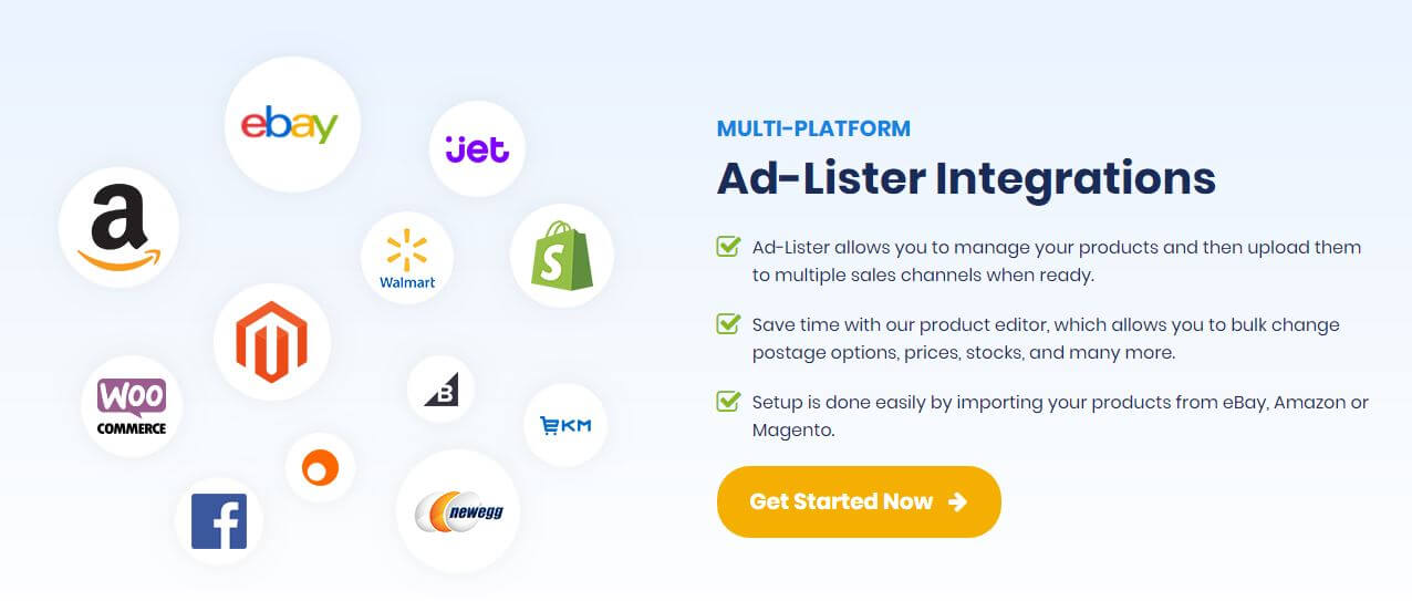 Ad-Lister, multi platform listing tool - start selling on ebay, Amazon, Magento, Woocommerce, shopify and more
