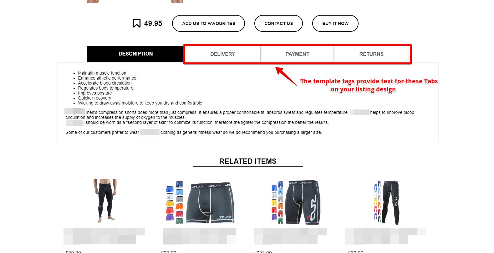 Tabs in ebay design