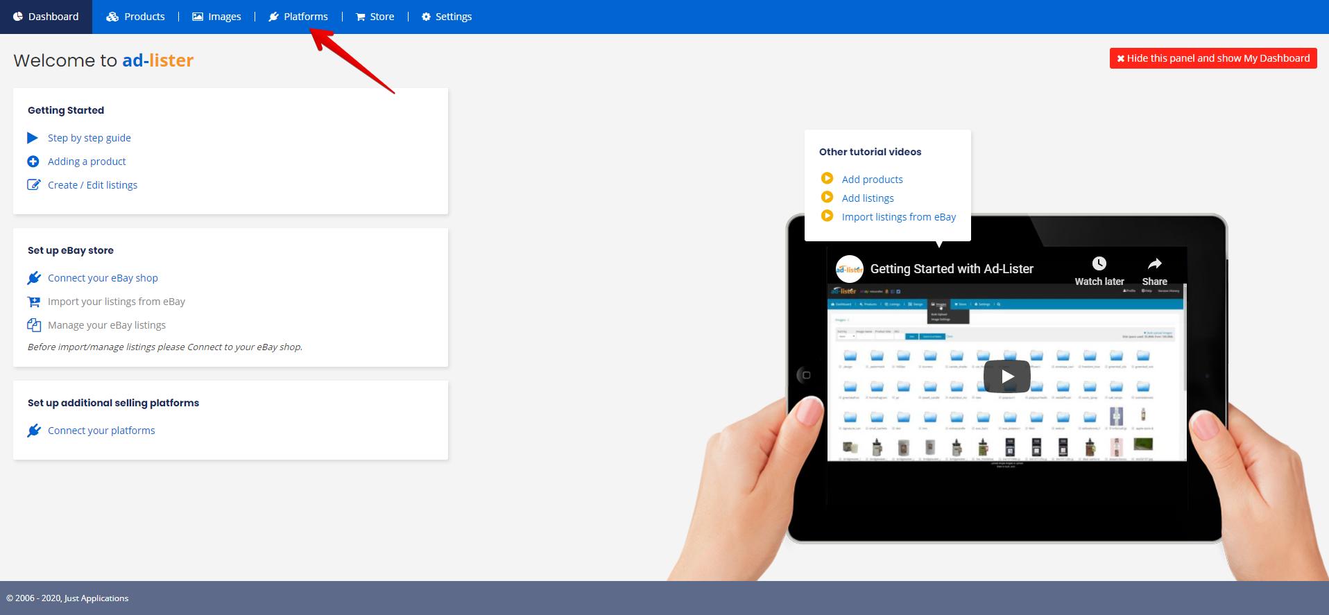 Adding platforms using top menu