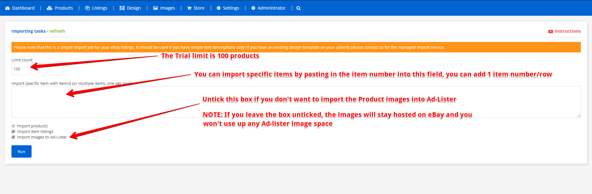 Selecting which options to import from eBay