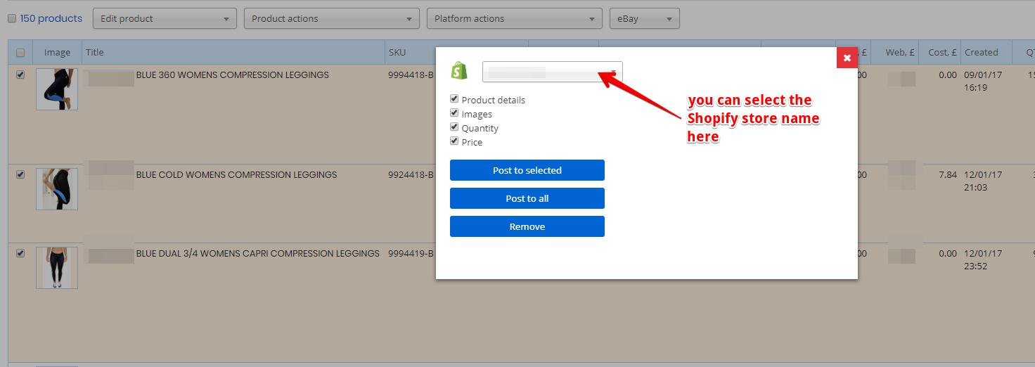 Shopify posting options