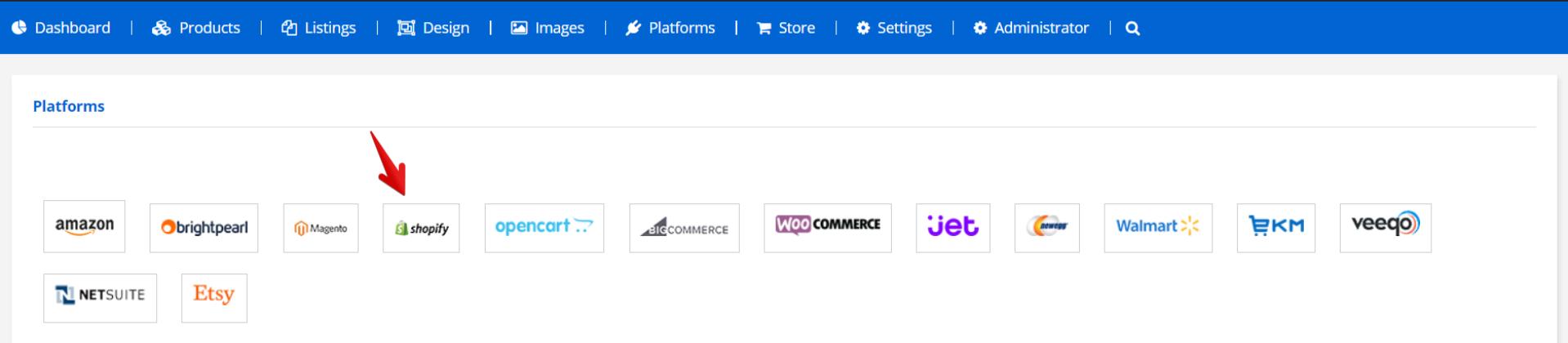 Select Shopify platform Ad-Lister