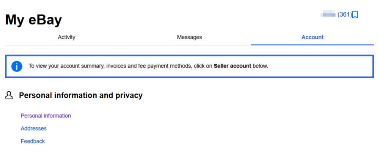 My ebay settings
