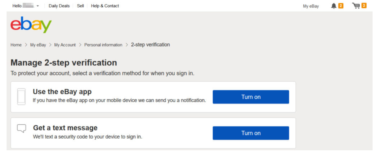 2 step verification on your eBay account options