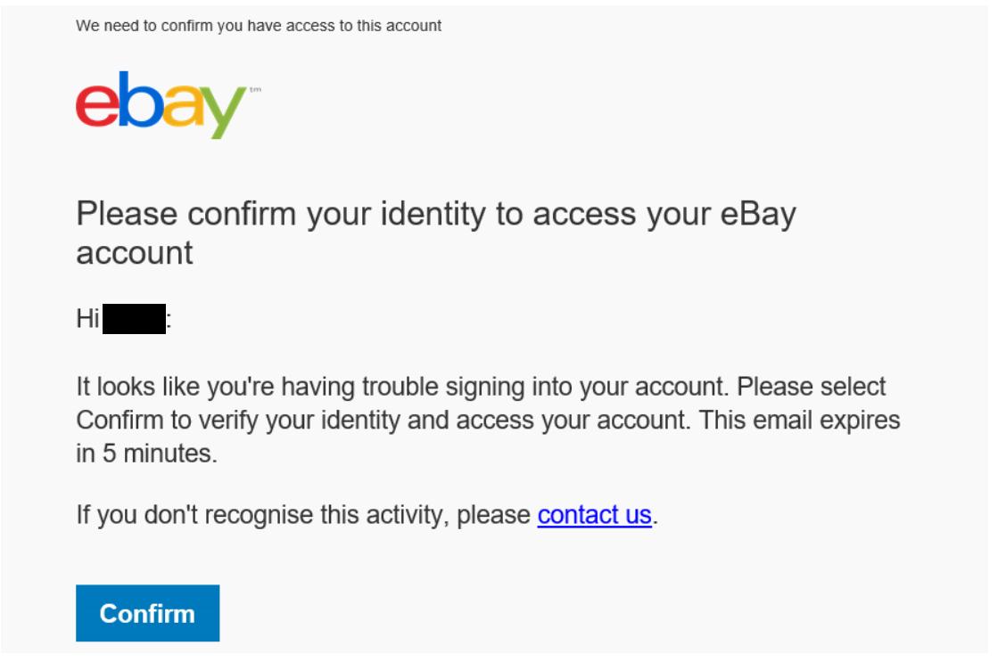 Confirm ebay account