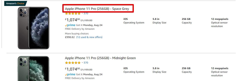iPhone 11 on Amazon