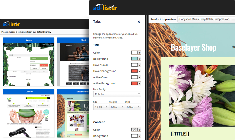 Listing Template builder